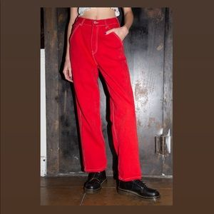 Brandy Melville Red Ariana Painter Pants